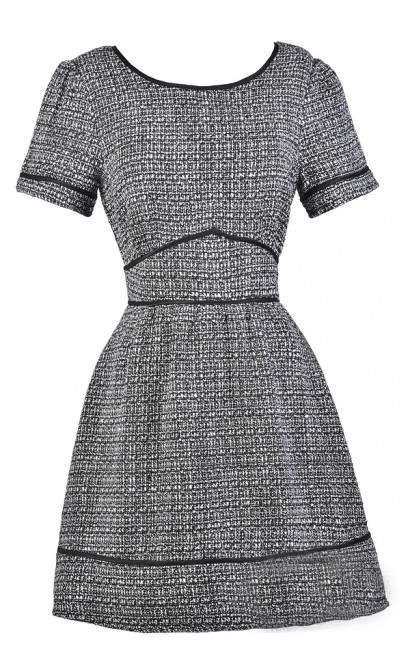 Black and Ivory Tweed Dress, Cute Work Dress