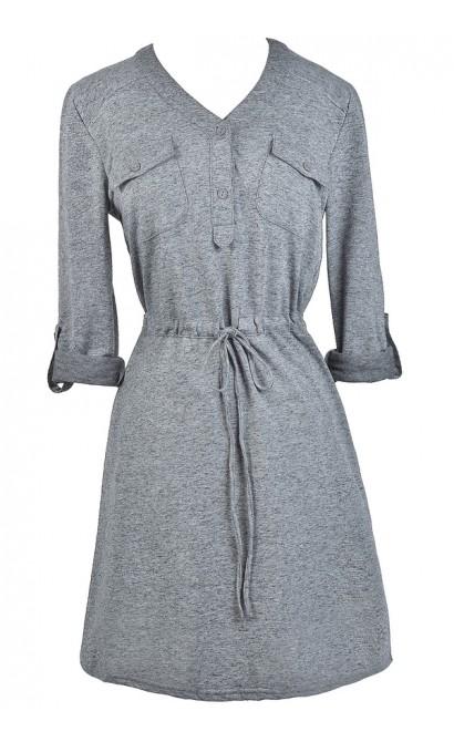 Cute Fall Top, Grey Tunic, Grey Top