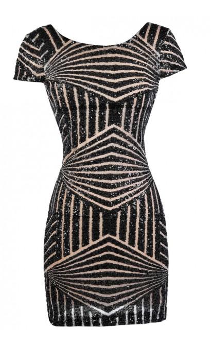 Black Sequin Party Dress, Little Black Dress, Black Cocktail Dress