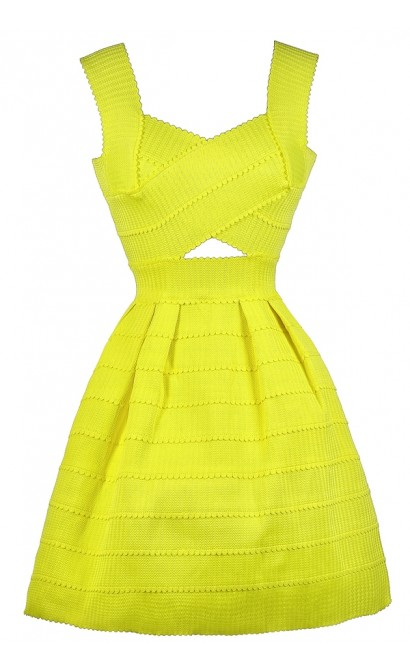 Yellow Party Dress, Yellow Cocktail Dress, Cute Yellow Dress