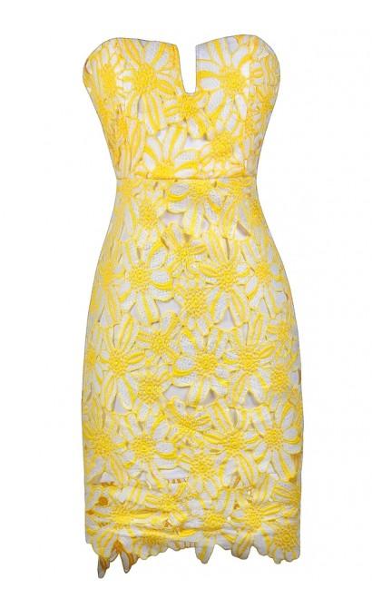 Yellow Lace Dress, Cute Yellow Dress, Yellow and White Strapless Lace Dress