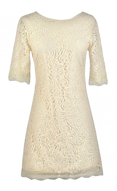 Beige Lace Sheath Dress, Rehearsal Dinner Dress, Bridal Shower Dress
