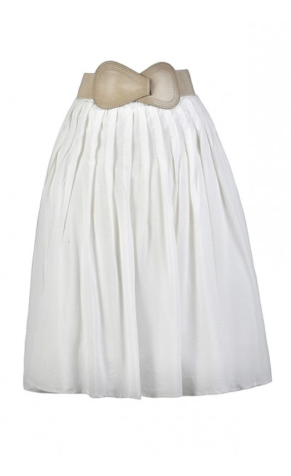 White A-Line Skirt, White Belted Skirt, Cute Summer Skirt