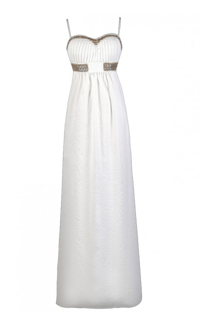 White and Gold Maxi Dress, Cute Maxi Dress, Summer Maxi ...