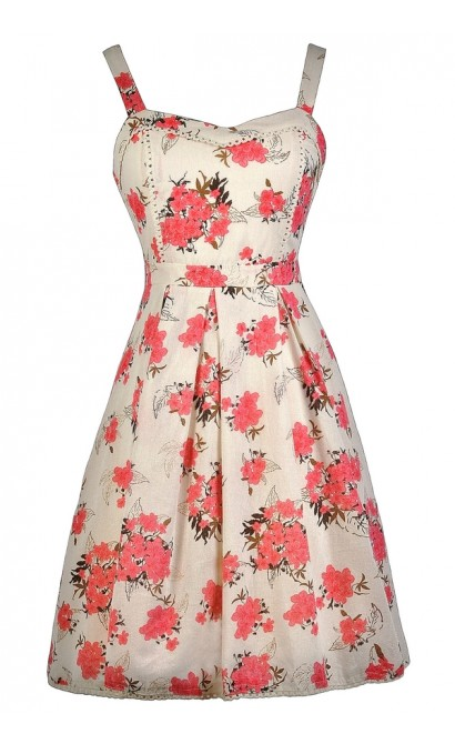 Pink Floral Print Sundress, Cute Pink Dress, Cute Summer Dress