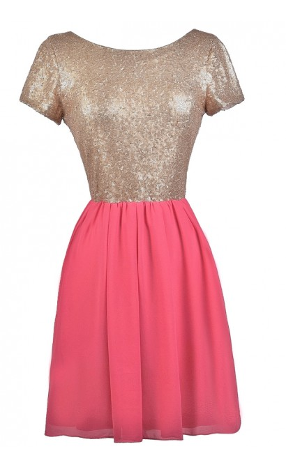 Hot Pink and Gold Sequin Party Dress, Cute Cocktail Dress, Cute Hot Pink Dress