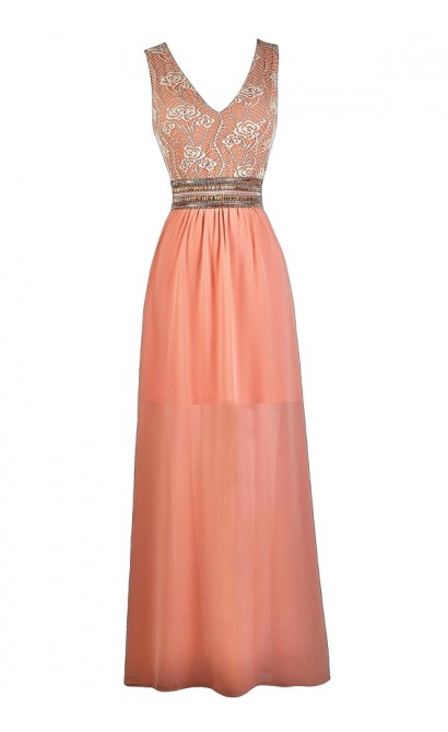 Peachy Pink Lace Maxi Dress, Pink Maxi Bridesmaid Dress