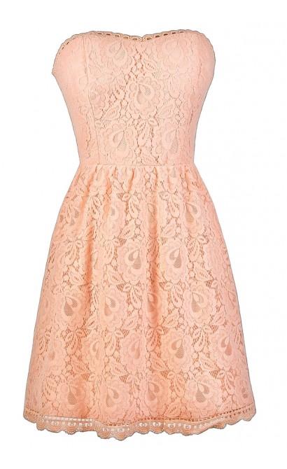 Strapless Pink Bridesmaid Dress, Pink Lace Dress, Cute Pink Dress