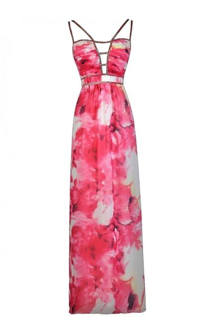 Flowered Maxi Dress White Prom