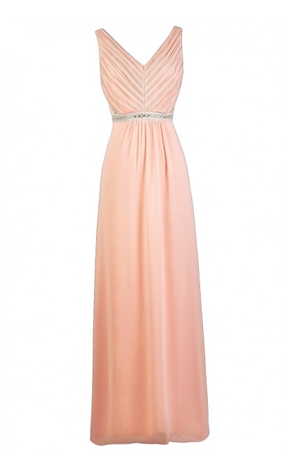 963cc81ee06 Cute Pink Maxi Bridesmaid Dress