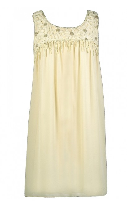 Cream Trapeze Dress, Cute Cream Dress, Cream Party Dress