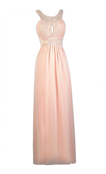 Pink Lily Boutique Maxi Dress, Pink Maxi Bridesmaid Dress, Cute Pink Dress