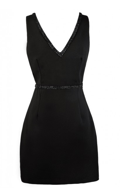 Cute Little Black Dress, Black Cocktail Dress, Black Beaded Dress