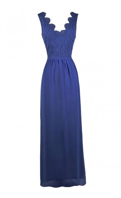 Blue Lace Maxi Dress, Blue Bridesmaid Dress, Cute Summer Dress