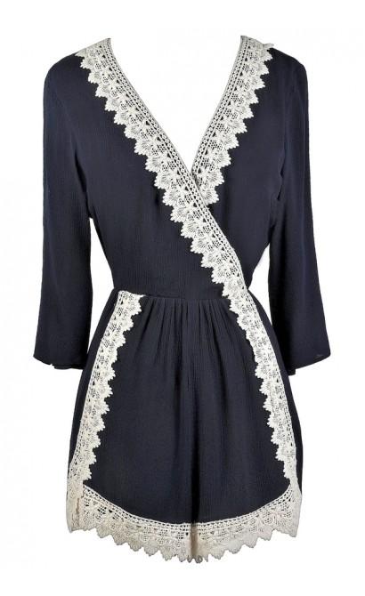 Cute Navy Romper, Lace Trim Romper, Cute Summer Outfit
