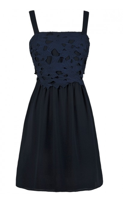 Navy Lace A-Line Summer Party Dress