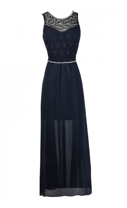Navy Lace Bridesmaid Dress, Navy Maxi Dress, Online Boutique Dress