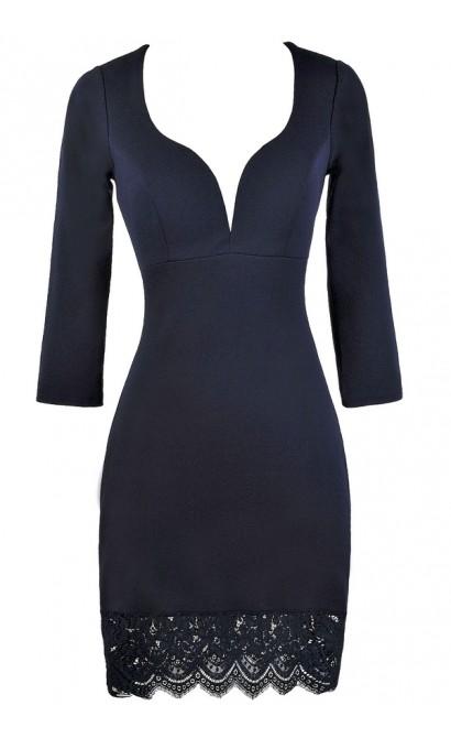 Cute Navy Dress, Navy Cocktail Dress, Online Boutique Dress