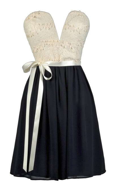 Navy and Ivory Party Dress