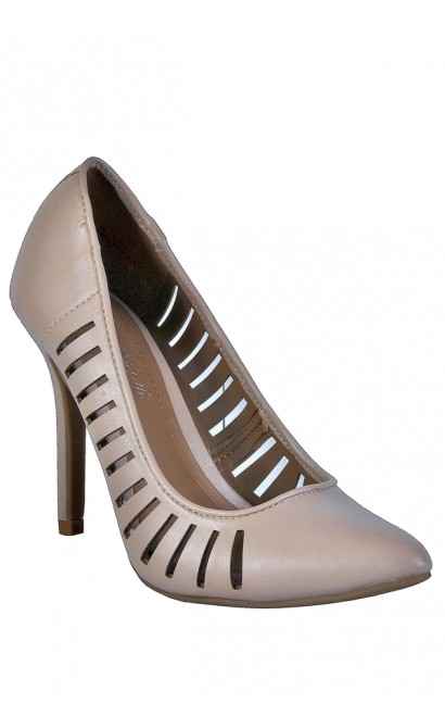 Cute Beige Pumps, Beige Pointed Toe Pumps, Nude Pumps