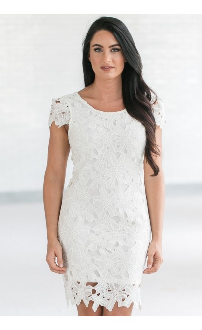 Ivory Lace Sheath Dress Cute Rehearsal Dinner Dress Lace Bridal