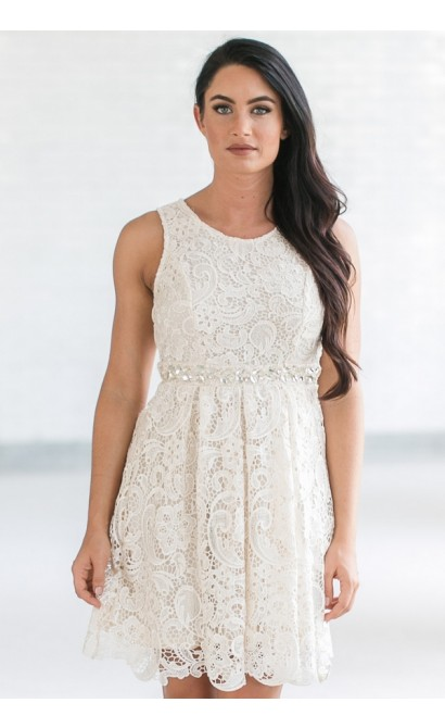 Love Story Rhinestone Lace A-Line Dress in Cream