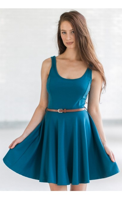A Flare For Fashion Belted Teal A-Line Dress