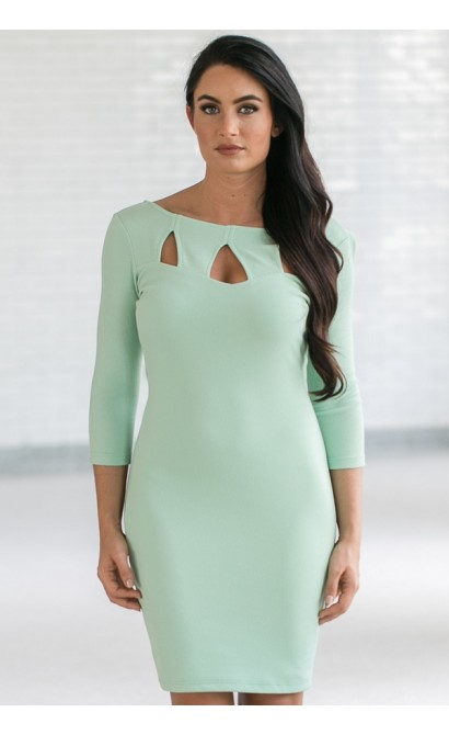 Cutting Out Bodycon Dress in Sage