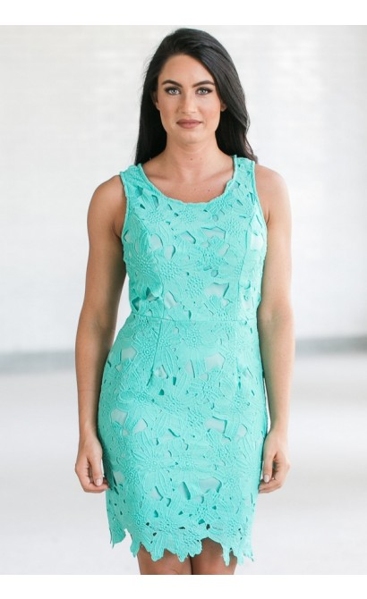 Mary Oversized Floral Lace Sheath Dress in Aqua