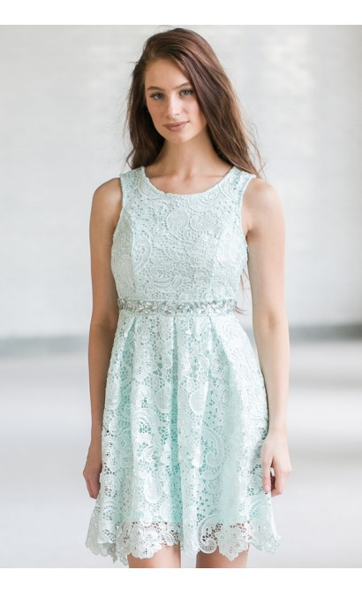 Love Story Rhinestone Lace A-Line Dress in Mint