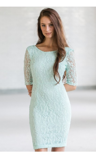 In Awe Of You Lace Pencil Dress in Mint