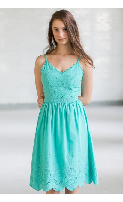 Blink Of An Eyelet A-Line Midi Dress in Jade