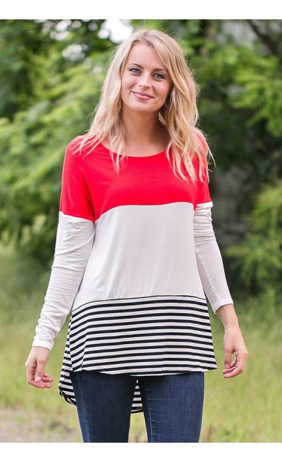 Cute Red Colorblock Top, Game Day Red Top, Casual Top