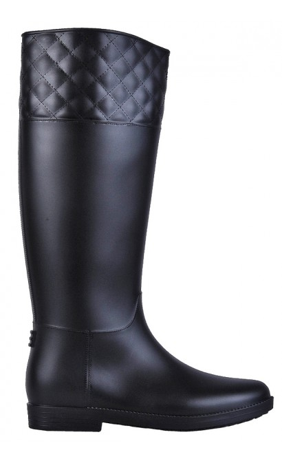 Lily Boutique Black Rain Boots, Quilted Rain Boots, Cute Rain ...