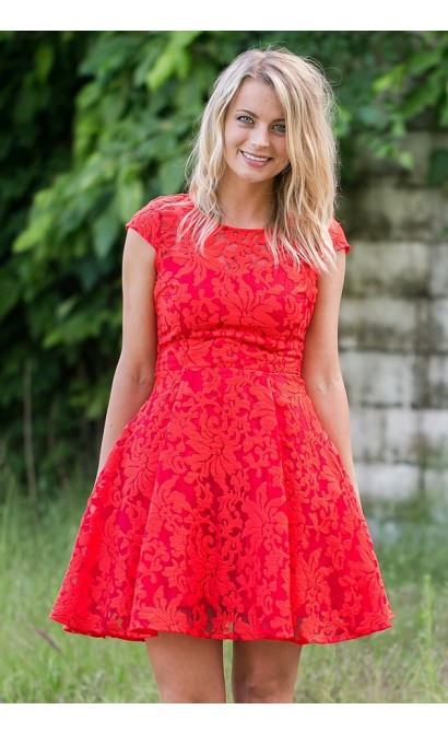 Red Lace Capsleeve A-Line Dress, Cute Summer Dress, Red Party Dress