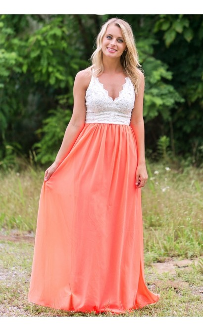 1b8374ef9a Neon Coral Open Back Maxi Dress
