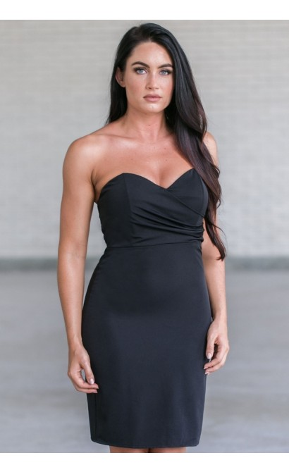Cute Little Black Cocktail Dress, Strapless Black Bodycon Dress, Online Boutique Dress