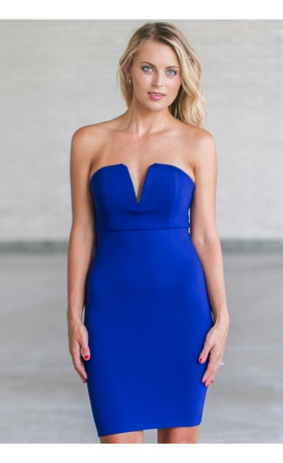 Blue Strapless Cocktail Party Dress