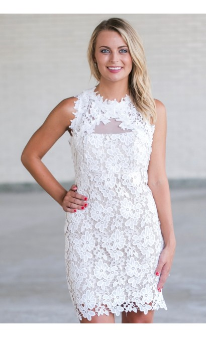 White Lace Rehearsal Dinner Dress Cute Online Boutique Pencil