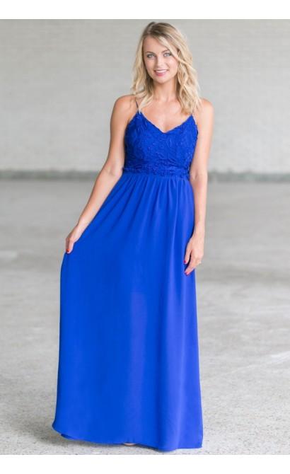 d1fda699586f Royal Blue Open Back Maxi Dress