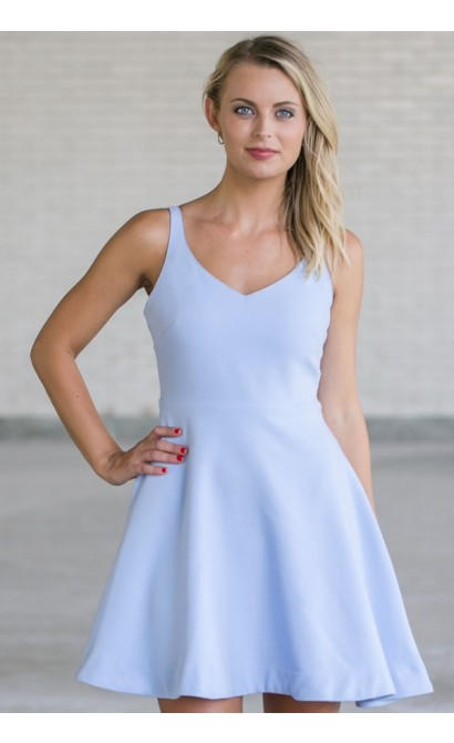 Cute Pale Blue Sundress, Periwinkle Blue A-Line Party Dress, Blue Summer Dress