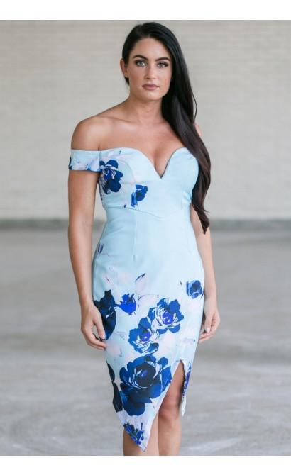 Cute Blue Off Shoulder Pencil Dress, Blue Floral Print Cocktail Dress, Ginger Fizz Floral Print Dress