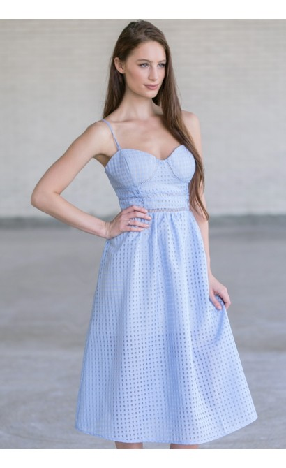 Pale Blue Midi Sundress, Cute Summer Dress, A-Line Sky Blue Dress