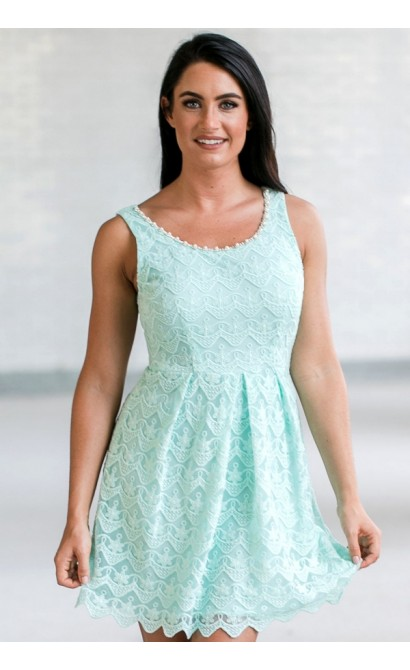 Cute Blue Mint Lace A-line Dress, Mint Lace Party Dress, Mint Lace Bridesmaid Dress