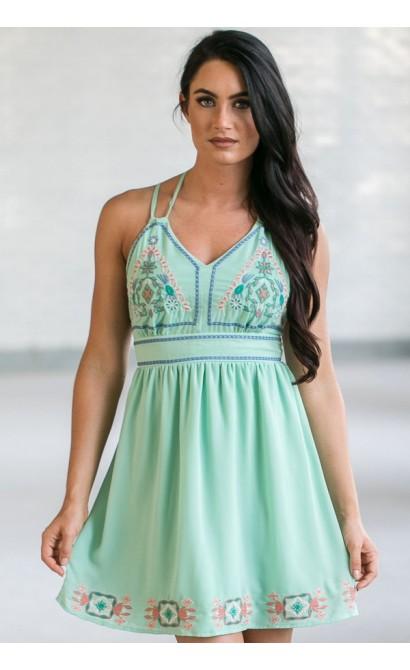 Cute Mint Dress, Mint Summer Dress, Online Boutique Dress, Embroidered Mint Dress
