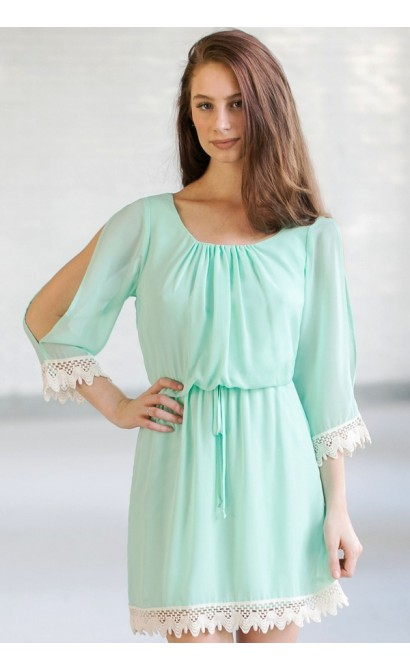 Cute Mint Open Shoulder Dress, Mint Summer Dress, Cute Mint Online Boutique Dress
