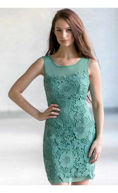 Sage Green Lace Sheath Dress Cute Green Summer Dress Sage Lace