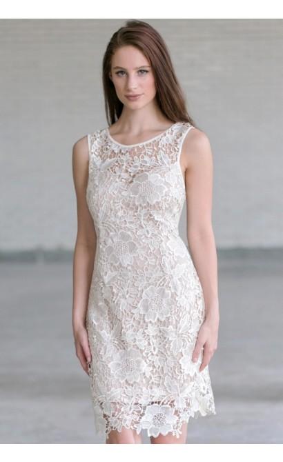 White Lace Rehearsal Dinner Dress