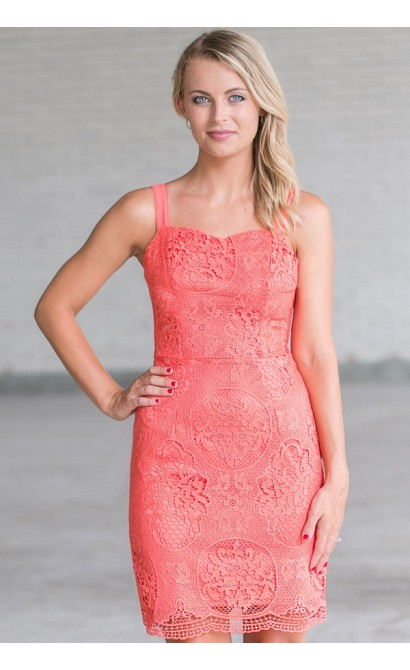 Hydrangea Garden Crochet Lace Dress in Coral