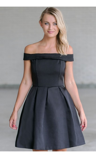 b27a10a01a72 Black Off Shoulder A-Line Dress